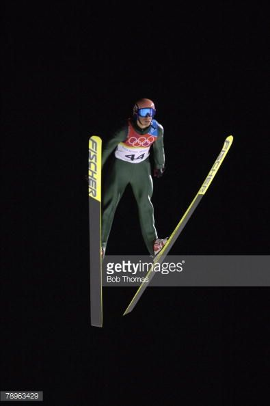 Sport Winter Olympic Games Torino Italy 10th 26th February 2006 18th February Ski Jumping Long Hill Night Time under Floodlights Andreas Kofler of...