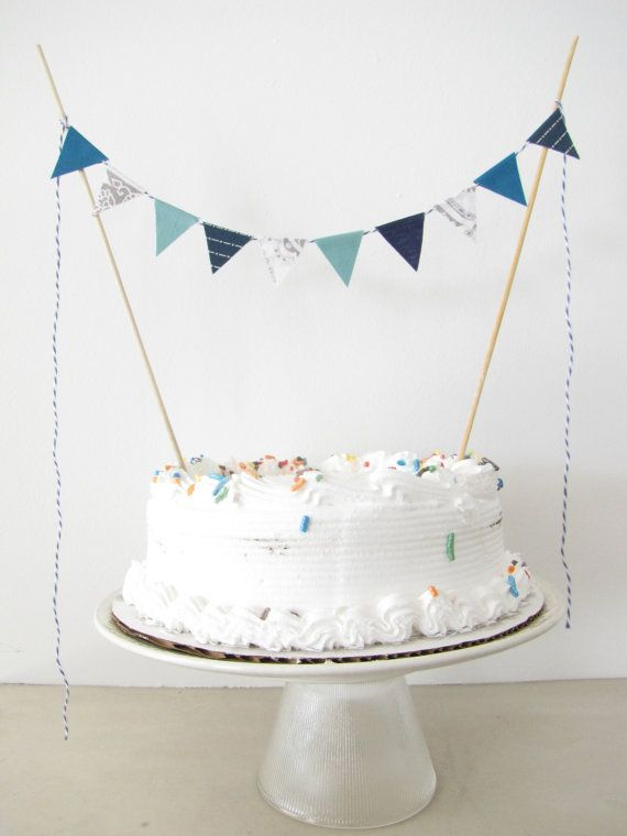 Fabric Cake Topper - Bunting Decoration - Wedding, Birthday Party, Shower Decor in Seven Seas grey paisley nautical navy stripe teal blue