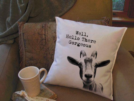 funny goat head throw pillow cover custom throw by MinnieandMaude