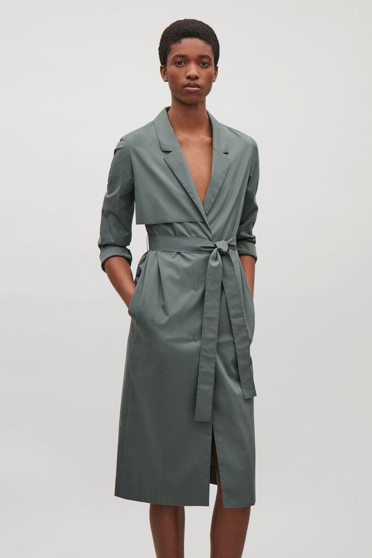 COS image 2 of Tailored trench coat in Sage Green