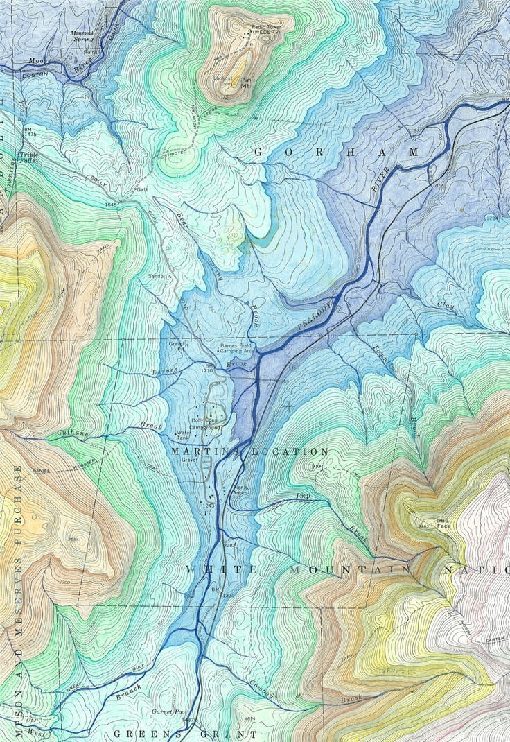 topographical map of the white mountain national forest in new hampshire