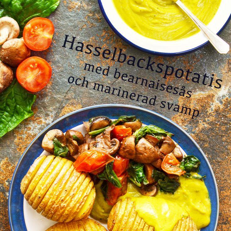 Hasselbackspotatis med bearnaisesås och marinerad svamp! Veganskt, glutenfritt och sockerfritt. Receptet finns i meny 20. 😊  www.allaater.se