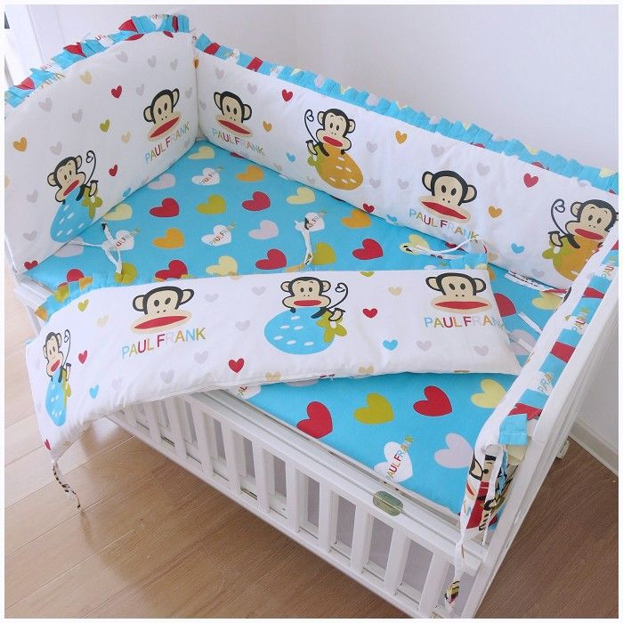 Promotion! 6pcs baby crib bedding set cot bed Bumper Sheet (bumpers+sheet+pillow cover)