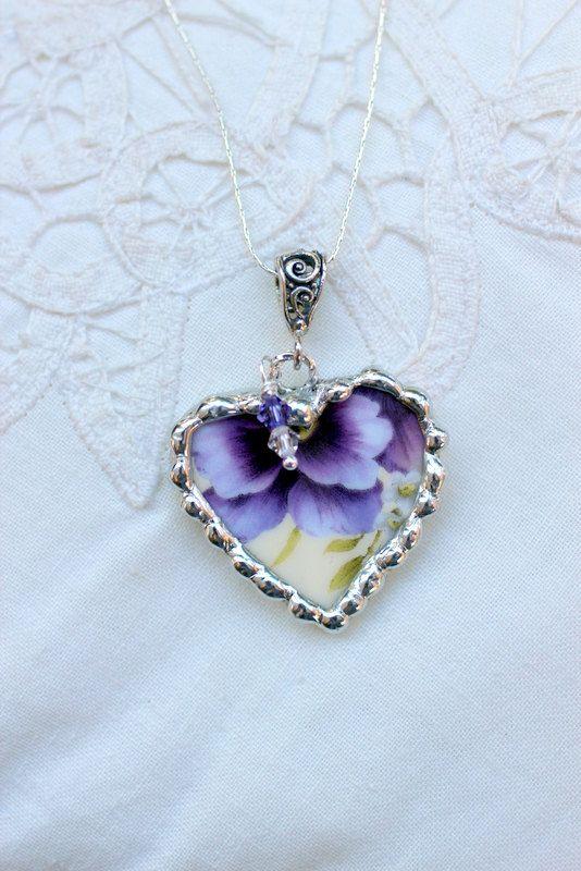 Broken China Jewelry Heart Pendant Necklace by Robinsnestcreation1, $41.95