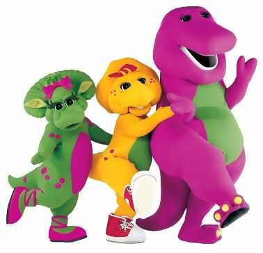 Barney!! I remind my granddaugthers every chance I get, that I was the best Granny in the world because I watched this show with them EVERY chance we got! Even had all of his DVD's and I even danced and sang along! ღpwro