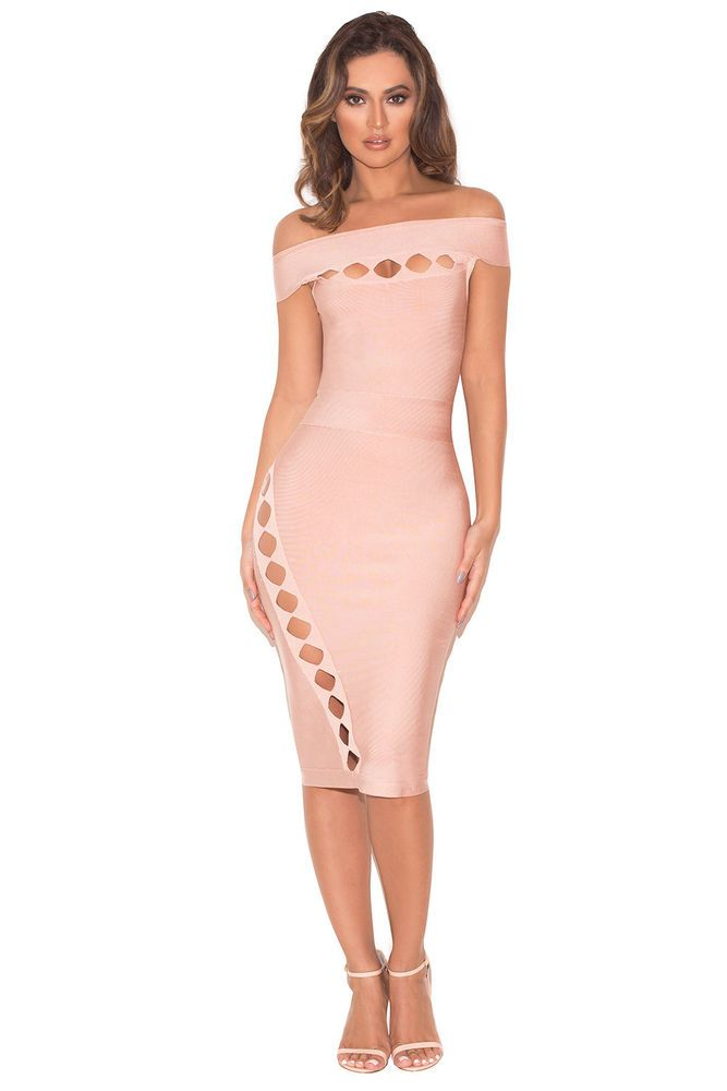 3f54544dfec25 HOUSE OF CB 'Ramah' Blush Off Shoulder Bandage Cut Out Dress XS 6 / 8 SG  434 #fashion #clothing #shoes #accessories #womensclothing #dresses (ebay  link)