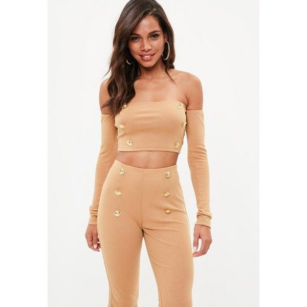 Missguided Tall  Brown Military Button Bardot Top ($26) ❤ liked on Polyvore featuring tops, camel, crop tops, missguided tops, long sleeve tops, red long sleeve top and red crop top