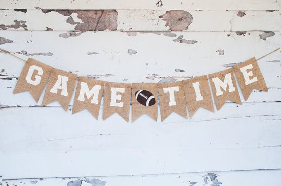 Game Time Football Banner Super Bowl Decor by SwankyBurlap on Etsy
