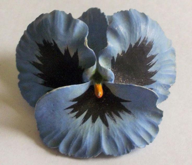 VINTAGE 50S 3D BLUE PANSY FLOWER BROOCH