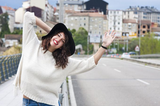 girl hitchhiking by pruden.alvarez on @creativemarket