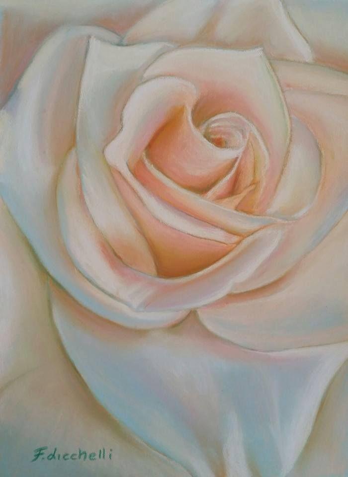 """Rosa di seta"" by Francesca Licchelli #art #pastelrose #pastedrawing  disegno originale - pastelli su carta Pastelmat - Misure: 18 x 24 cm. - Anno: 2015"