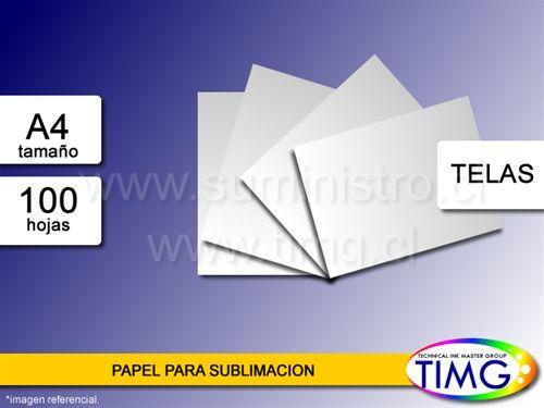 Papel de sublimacion tenemos en variedades de rollo, A3, A4 - 100 hojas A4 a 3990 - http://www.suministro.cl/product_p/1030010001.htm#utm_sguid=166629,cc564279-4610-7d09-247f-121ebe442af7