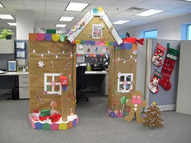 Gingerbread house cubicle decorations! Genius!