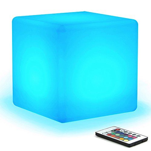16 RGB Colors 4 Modes MrGo Waterproof Rechargeable LED Colorchanging Light Cube 8  Dimmable Soothing Mood Lamp w Remote  Ideal for Home Patio Party Accent Ambient  Decorative Lighting * More info could be found at the image url.