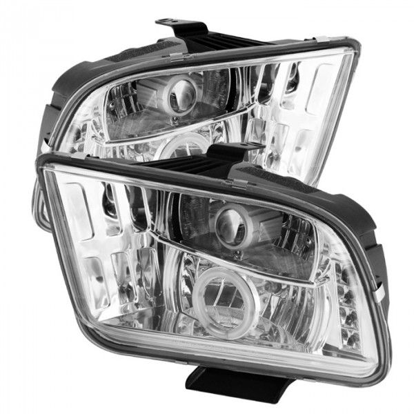 2009 FORD MUSTANG CHROME/CLEAR CCFL PROJECTOR HEADLIGHTS - SPYDER AUTO - (PAIR)