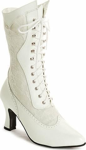 White Victorian Wedding Boots