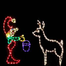 Elf feeding reindeer led animated outdoor christmas for Animated lighted reindeer christmas decoration