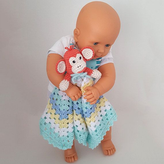 Crochet monkey security blanket. Monkey blankie. by LilCuddles