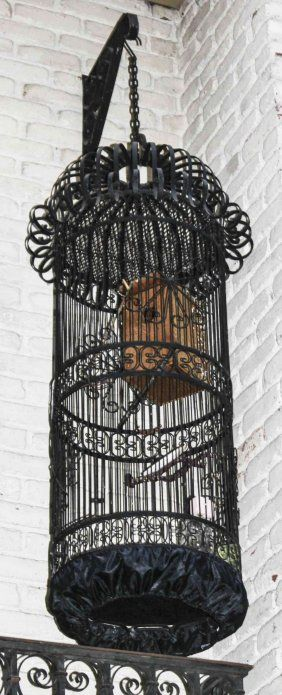 A Victorian Style Strap Work Birdcage, Height 56