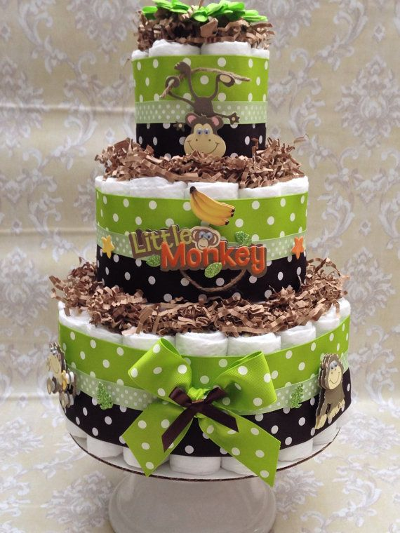 Green and Brown Monkey Diaper Cake for by MrsHeckelDiaperCakes