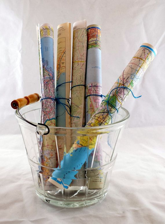 Vintage World Map Gift Wrap. World Wide Map by LoveDoveTrading