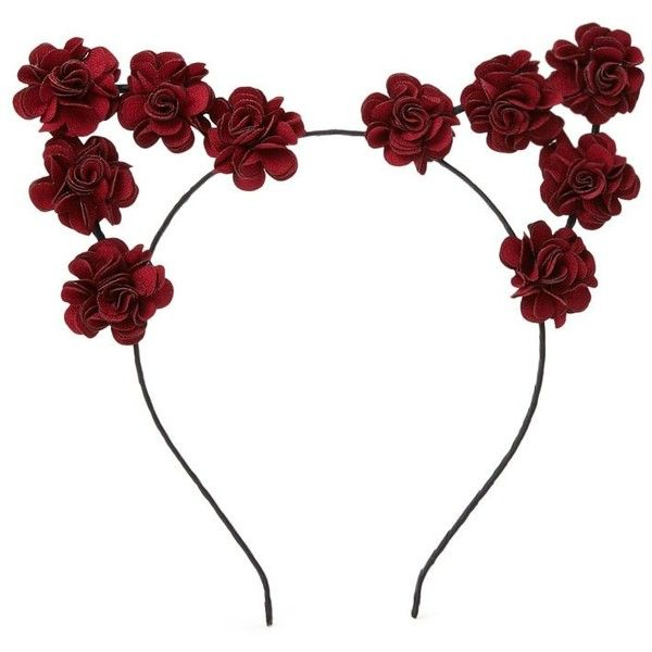 Forever 21 Floral Cat Ear Headband ($5.90) ❤ liked on Polyvore featuring accessories, hair accessories, cat ears headband, flower headwrap, floral cat ear headband, wire wrap headband and embellished headbands