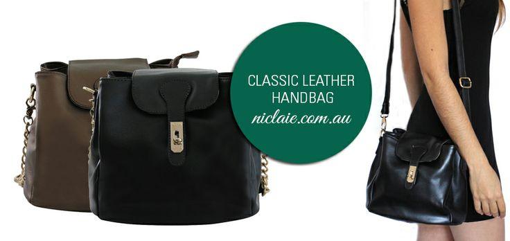 Shop now at www.niclaire.com.au - Classic Leather Handbag, 100% Genuine leather! #handbag #leather #ladieshandbag