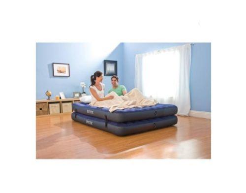 intex 2in1 convertible queen raised air bed airbed mattress 67744e