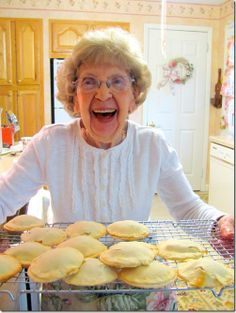 "The main reason I am pinning this is because this ""granny"" cracks. me. up. Vintage Raisin Filled Cookies"