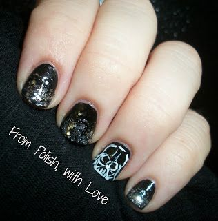 May The Fourth Be With You My Vader Nails From Polish Love Nail Art Pinterest Star Wars Manicure Ideaanicure