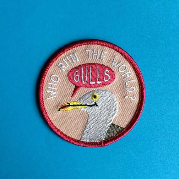 Funny Iron On Patch Gulls Patch Cute Seagull by helloDODOshop