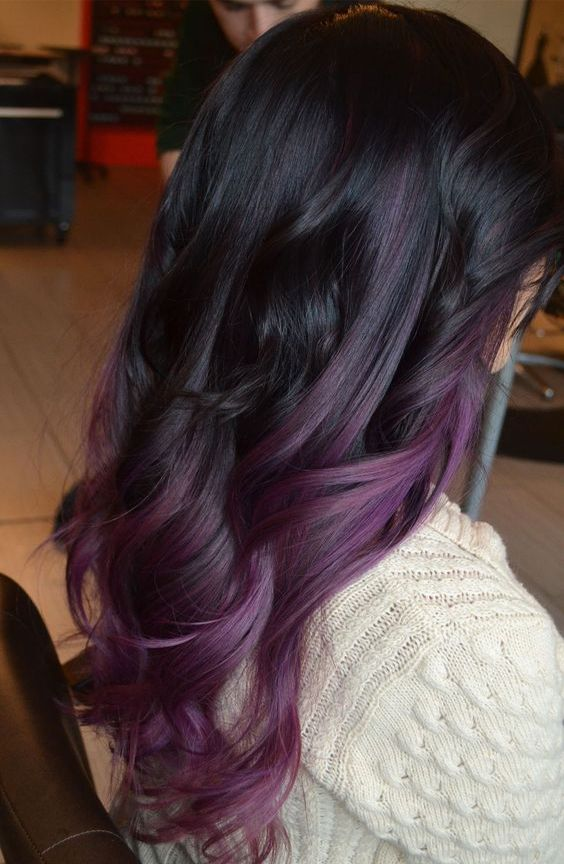 Dark purple balayage ombre hair color ideas for fall,winter 2016 , 2017