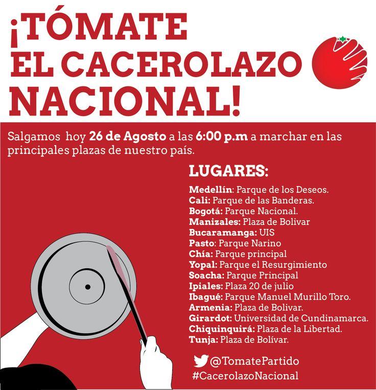 Tómate el Cacerolazo Nacional pic.twitter.com/RB5DYrDxKp PARTIDO DEL TOMATE INVITA A CACEROLAZO EL 26 DE AGOSTO