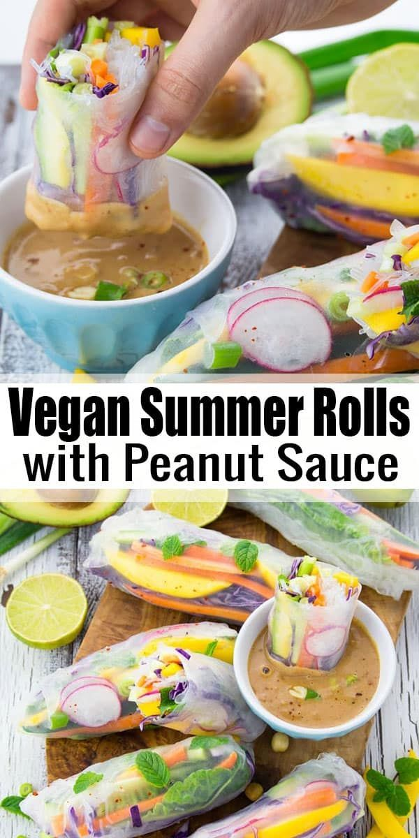 These vegan summer rolls with mango and mint are the perfect light dinner for ho…