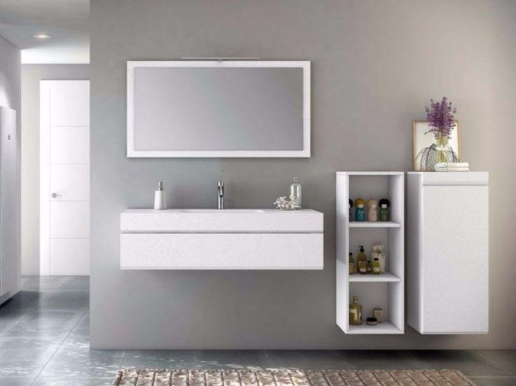 Mueble bajo lavabo suspendido de MDF stucco  espejo