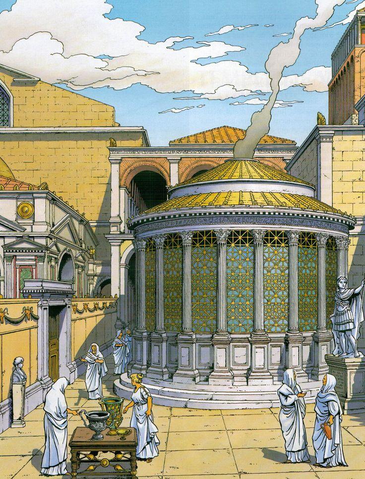 Il tempio di Vesta è un piccolo tempio rotondo (tholos) situato all'estremità orientale del Foro Romano a Roma, lungo la via Sacra accanto alla Regia ed ...
