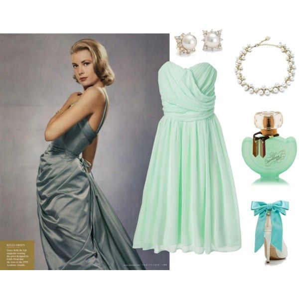 Grace Kelly by fashionfan-8 on #Polyvore featuring Tevolio, Kate Spade, Anne Klein, Blue Nile, Vanity Fair and #vintage #GraceKelly #elegant #classicstyle #moda #stile #mintgreendress