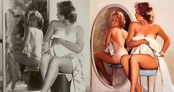 "The Iconic Pin-Ups Of The 50's Were Inspired By REAL Women. Here Are The Rare Original Photos. Apparently ""photoshopping,"" has been around a lot longer that computers...."