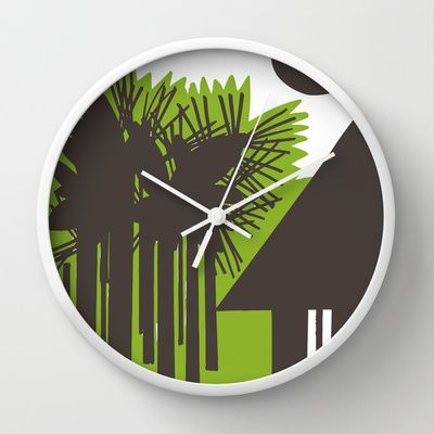 """Choza"" Wall Clock / White  White (Reloj de Pared / Blanco Blanco) 