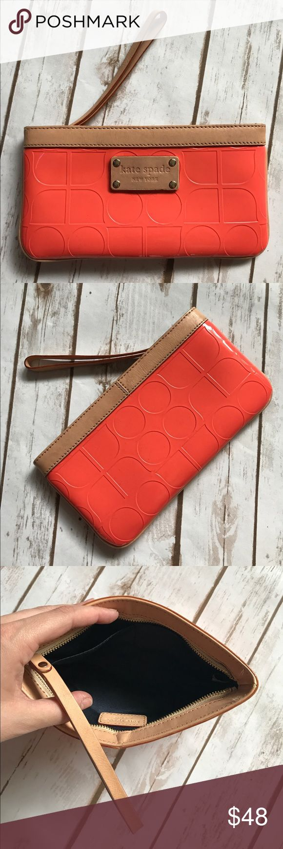 KATE SPADE Orange Clutch Orange clutch from Kate Spade. Taupe accent color. Clean and lovely, excellent used condition. kate spade Bags Clutches & Wristlets