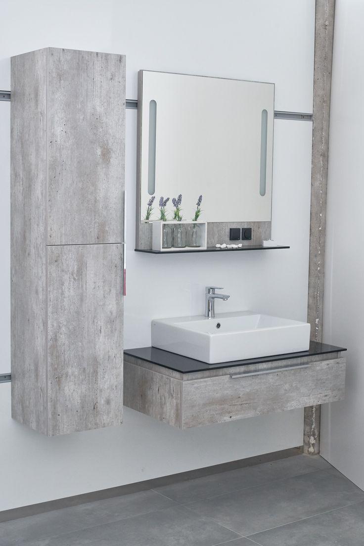 Koupelnová skříňka a koupelnová deska s umyvadlem s dekorem betonu - Inspirace do koupelny z Dřevojasu