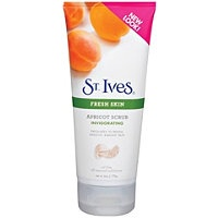 St. Ives Invigorating Apricot Scrub. I use it with trader joes face wash w/ awapui swear by this stuff! My face hardly breaks out.