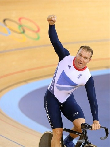 Sir Chris Hoy of Great Britain celebrates after setting a new world record