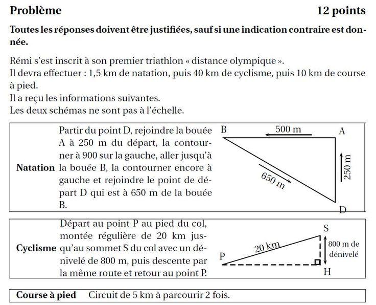 Sujet de brevet de mathématiques et correction complète : France Métropolitaine septembre 2012 - Collège Pierre Perret