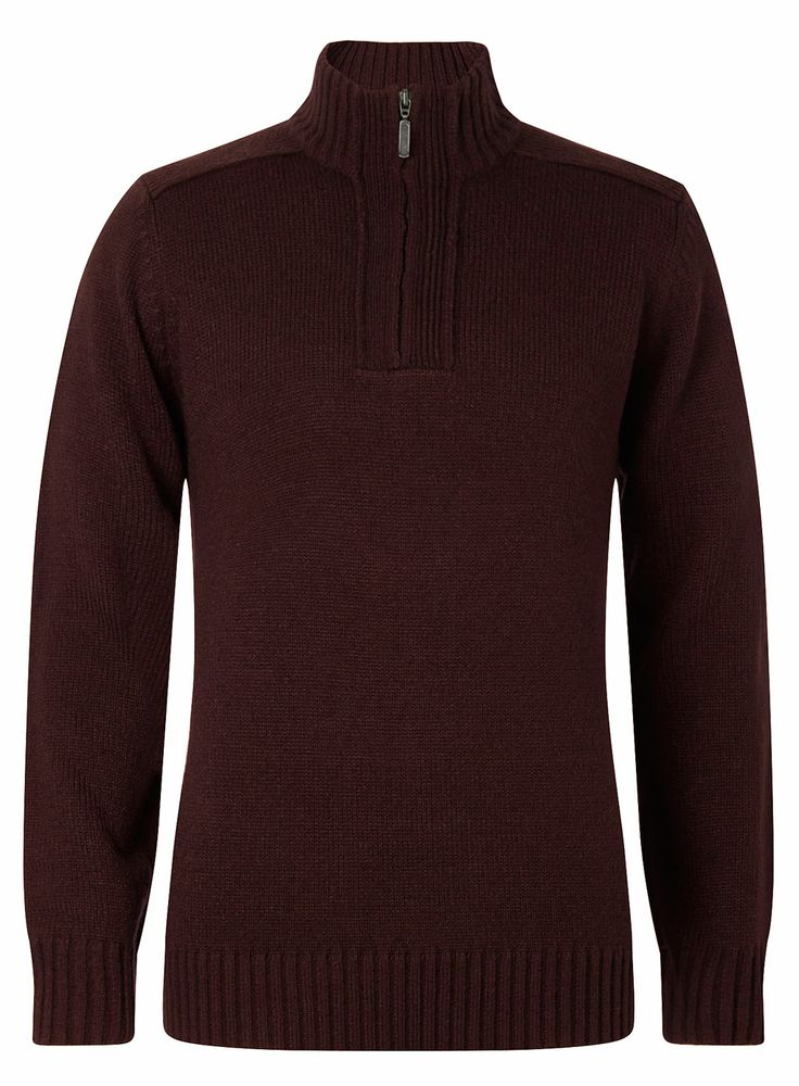 Burgundy Zip Neck Jumper