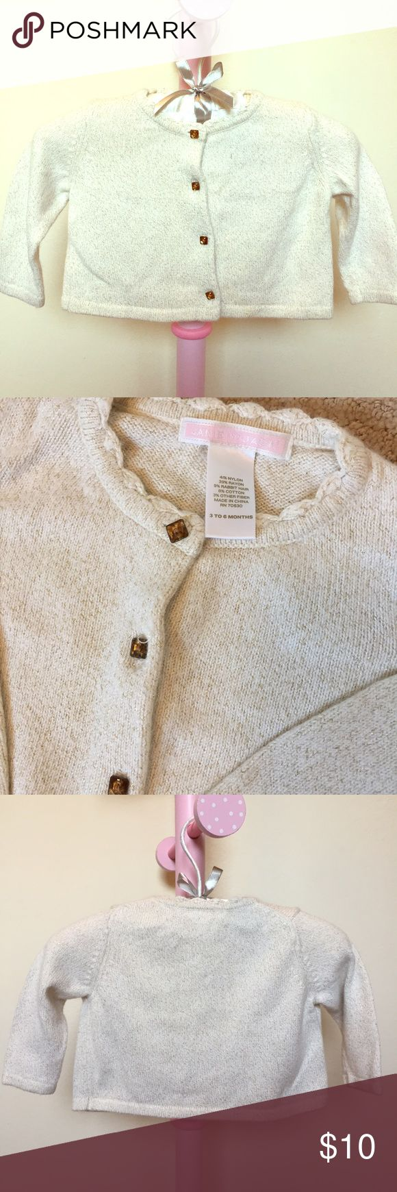 Janie & Jack Infant Girl's Gold Cardigan 3-6 Mo Versatile piece to accompany any holiday ensemble! Cream cardigan with golden flecks and amber buttons. Super soft. Size 3-6 months. Janie and Jack Shirts & Tops Sweaters