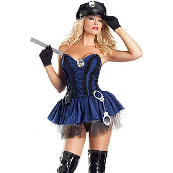Blue Cop Sexy Womens Police Halloween Fancy Costume (115 BRL) ❤ liked on Polyvore