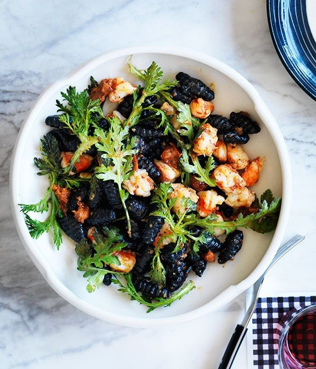 Squid-ink gnochetti Sardi with prawns and 'nduja | 121BC, Sydney | Mitchell Orr - Gourmet Traveller