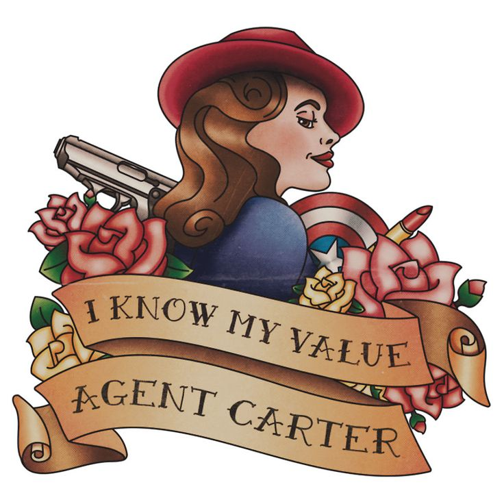 Agent Carter Vintage Tattoo Dark by BonnieDetwiller