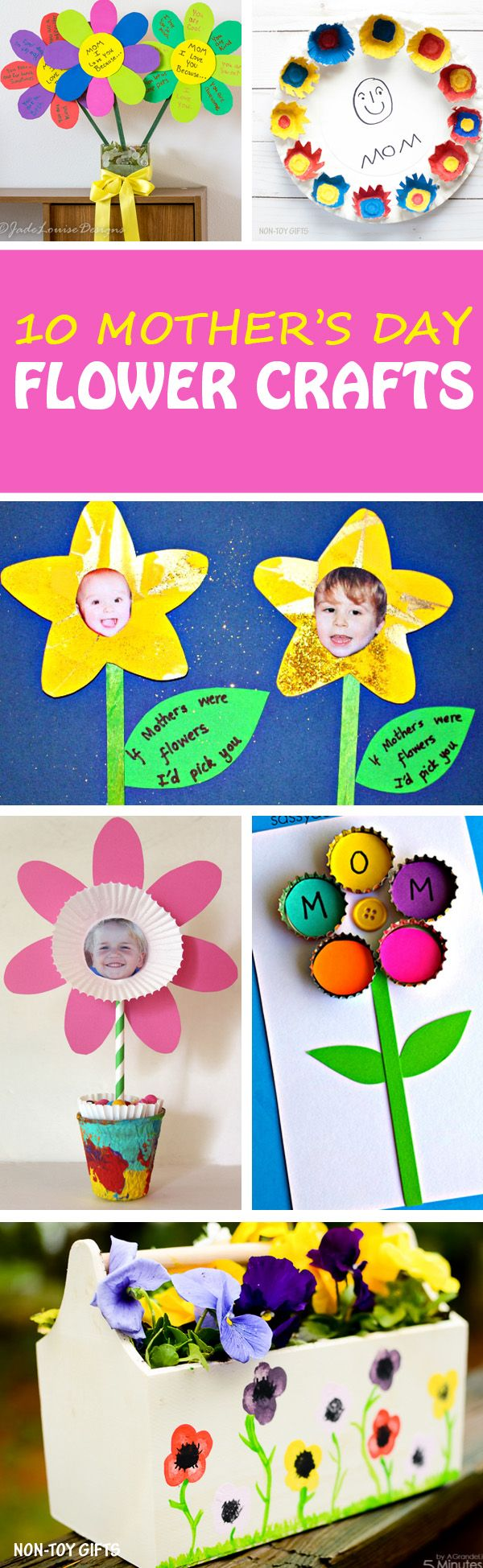 Easy Mother's Day flower crafts for toddlers, preschoolers, kindergartners and older kids. Cupcake liner flower, handprint bookmarks, flower cards, mom portrait to make for moms, grandmothers and aunts. A fun kid-made gift or card to make in the classroom. | at Non-Toy Gifts
